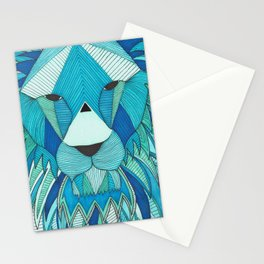 Blue and Green Geometric Lion Line Illustration Stationery Cards