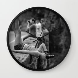 All You Really Need Is Someone To See the Psycho You Really Are - Girl with a Camera looking at the world upside down art photography Wall Clock