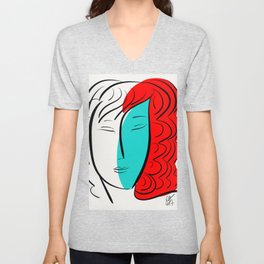 Turquoise Pop Girl with red hair Graphic Minimal art Unisex V-Neck