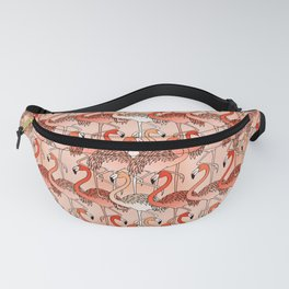 Living Coral Color Flamingos Fanny Pack