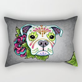 Boxer in White- Day of the Dead Sugar Skull Dog Rectangular Pillow