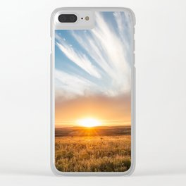Grand Exit - Golden Sunset on the Oklahoma Prairie Clear iPhone Case