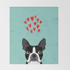 Boston Terrier - Hearts, Cute Funny Dog Cute Valentines Dog, Pet, Cute, Animal, Dog Love,  Throw Blanket