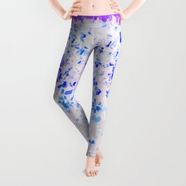 blue and white heart shape with purple background Leggings