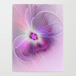Abstract Flower With Pink And Purple Fractal Poster