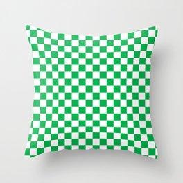 Green Checkerboard Pattern Throw Pillow