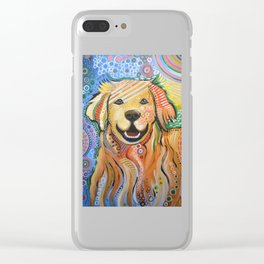 Max ... Abstract dog art, Golden Retriever, Original animal painting Clear iPhone Case