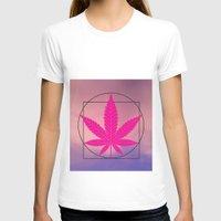 marijuana T-shirts featuring vitruvian marijuana by Emekli Astronot