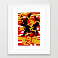 umbreon Framed Art Prints featuring #197 - Umbreon by Solis