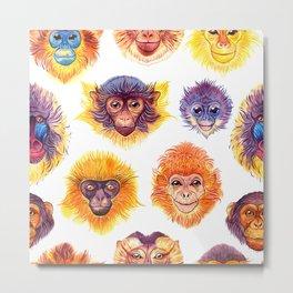 Watercolor monkeys Metal Print