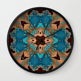 Brown Blue Azalea 1 Wall Clock