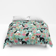 Floral Boston Terrier cute flowers spring bouquet love valentines day black and white mint dogs Comforters