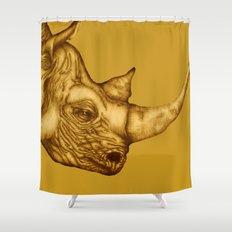 The Golden Rhino Shower Curtain