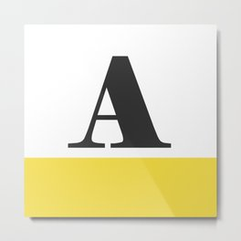 Monogram Letter A-Pantone-Buttercup Metal Print