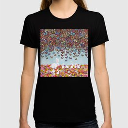 bunnies, flowers, and butterflies T-shirt