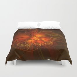Burning, Abstract Fractal Art With Warmth Duvet Cover