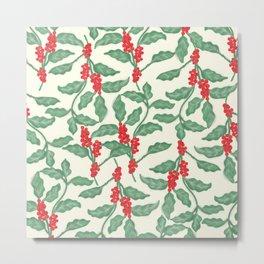 Coffee Plant Pattern Metal Print