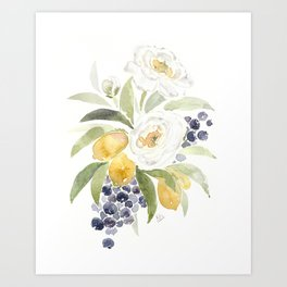 Watercolor Flowers with Blueberries Art Print
