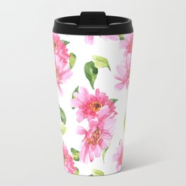 Hand painted neon pink green watercolor floral Travel Mug