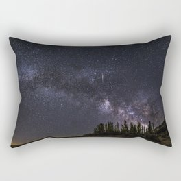 """Meteorite"". Milky way at the mountains Rectangular Pillow"