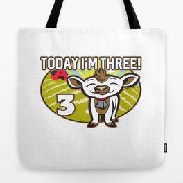 Kid's 3th Birthday Today I'm Three! Cute Cow Tote Bag