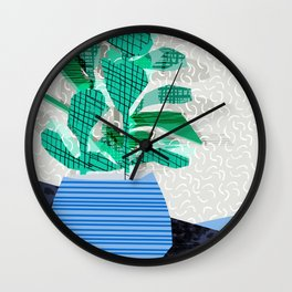 Ditz - house plant art neon pattern texture inky memphis style throwback 1980s 80s retro vintage  Wall Clock