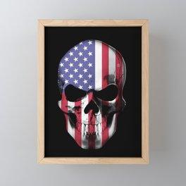 American Skull with Flag Framed Mini Art Print
