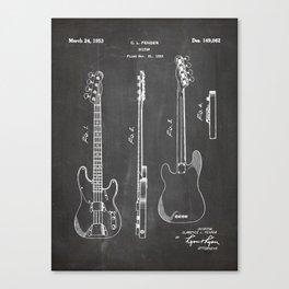 Bass Guitar Patent - Bass Guitarist Art - Black Chalkboard Canvas Print