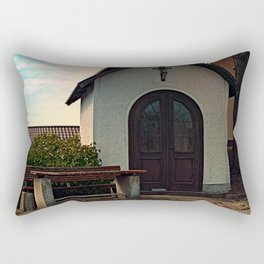 Taking a rest at the chapel Rectangular Pillow