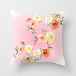Rosy Watercolour Flower Bouquet Throw Pillow