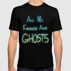 All My Friends are Ghosts Black SMALL Mens Fitted Tee