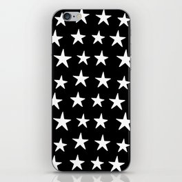 Star Pattern White On Black iPhone Skin