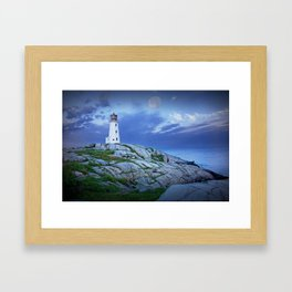 Lighthouse at Peggy's Cove in the Moonlight Framed Art Print