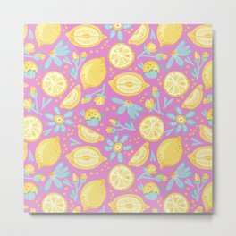 Lemon Pattern Pink Metal Print