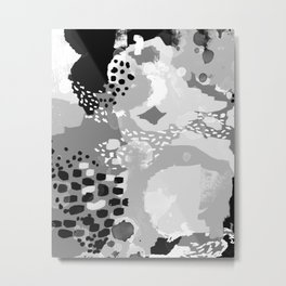 Rion - Modern minimal black and white abstract painting brooklyn nyc home decor canvas abstract art Metal Print