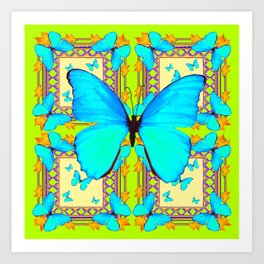Turquoise Satin Butterflies On Lime & Cream Colors Art Print