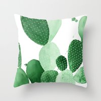 Throw Pillows featuring Green Paddle Cactus II by THE AESTATE