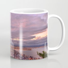 Aerial view of a magnificent city and her surroundings at twilight Coffee Mug