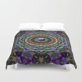 Purple Yin Yang Sacred Geometry Fractals Duvet Cover