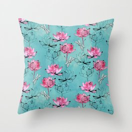 Waterlily dragonfly Throw Pillow