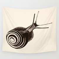 snail Wall Tapestries featuring  Snail. by Assiyam