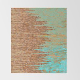 Jagged Turquoise and Copper Design Throw Blanket
