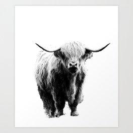 Newspaper Print Style Highland Cow. Scotland, Bull, Horns. Art Print