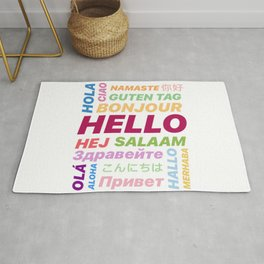 "Multilingual ""Hello"" Digital Art Rug"