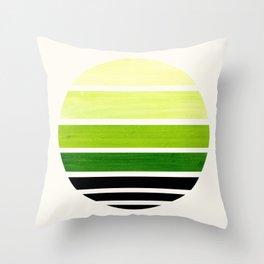 Sap Green Mid Century Modern Minimalist Circle Round Photo Staggered Sunset Geometric Stripe Design Throw Pillow