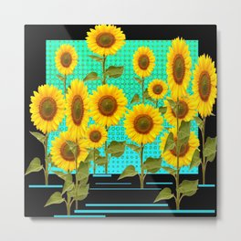 SUNFLOWER FIELD BLACK-TURQUOISE GRAPHIC Metal Print