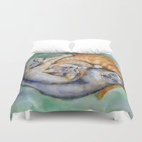 cuddle Duvet Covers featuring Cuddle Cats by Lucy's Visual Fling