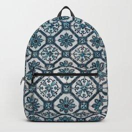 Floral ceramic tile desiGN in blue color Backpack