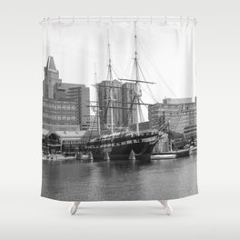 A US Frigate Ship in Baltimore, MD Shower Curtain