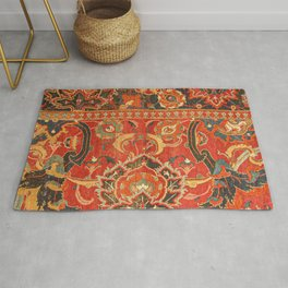 Red Arabic Rug I // 17th Century Colorful Firey Red Light Teal Sapphire Navy Blue Ornate Pattern Rug